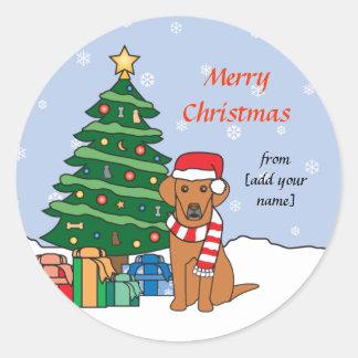 Vizsla and Christmas Tree Classic Round Sticker