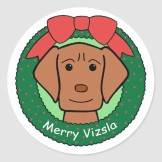 Vizsla Christmas Classic Round Sticker