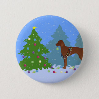 Vizsla Decorating a Christmas Tree in the Forest Button