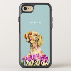 Vizsla Dog and Flowers Art | Add Your Name OtterBox Symmetry iPhone 8/7 Case