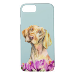 Vizsla Dog and Flowers Watercolor Painting iPhone 8/7 Case