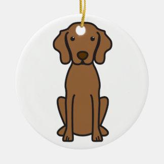 Vizsla Dog Cartoon Double-Sided Ceramic Round Christmas Ornament