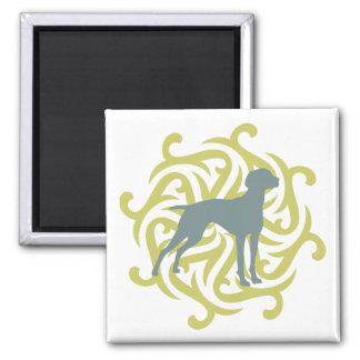 Vizsla Dog Design (lime & slate) 2 Inch Square Magnet