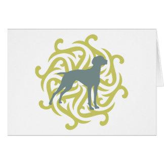 Vizsla Dog Design (lime & slate) Greeting Card