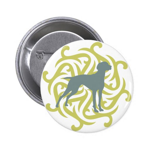 Vizsla Dog Design (lime & slate) Pinback Button