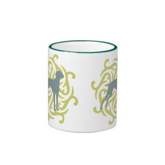 Vizsla Dog Design (lime & slate) Ringer Mug