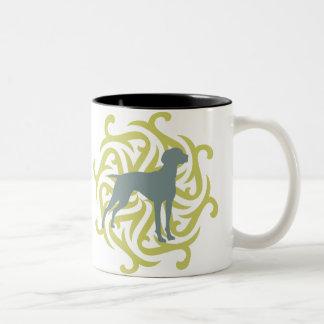 Vizsla Dog Design (lime & slate) Two-Tone Coffee Mug