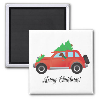 Vizsla Dog Driving a Christmas Car 2 Inch Square Magnet