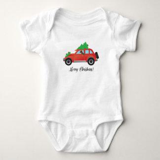 Vizsla Dog Driving a Christmas Car Baby Bodysuit