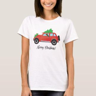 Vizsla Dog Driving a Christmas Car T-Shirt