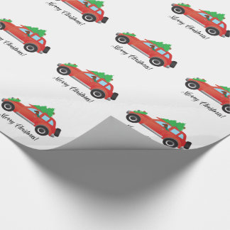 Vizsla Dog Driving a Christmas Car Wrapping Paper
