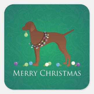 Vizsla Dog Merry Christmas Design Square Sticker