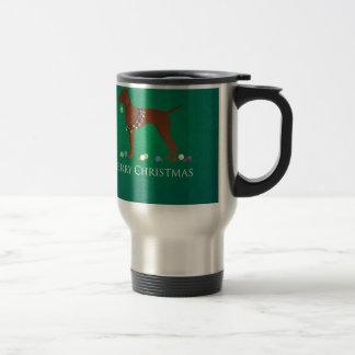 Vizsla Dog Merry Christmas Design Travel Mug