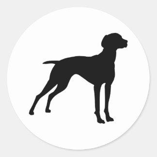 Vizsla Dog Silhouette (black) Classic Round Sticker