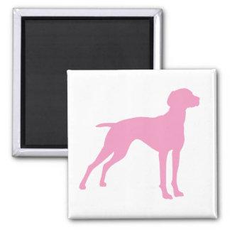 Vizsla Dog Silhouette (pink) 2 Inch Square Magnet