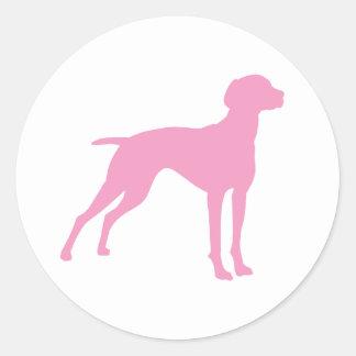Vizsla Dog Silhouette (pink) Classic Round Sticker