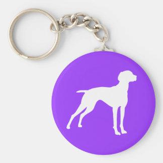 Vizsla Dog Silhouette (white) t-shirts & gifts Key Chains