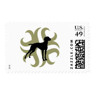 Vizsla Dog Tribal (green and black) Stamps