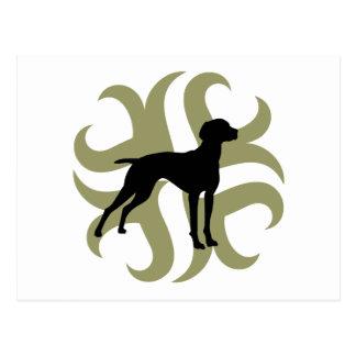 Vizsla Dog Tribal (green and black) Postcard