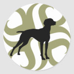 Vizsla Dog Tribal (green and black) Round Stickers