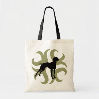 Vizsla Dog Tribal (green and black) Tote Bag