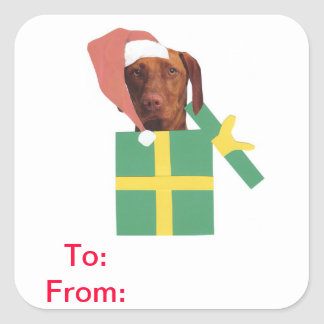 Vizsla Gift Tags To and From Sticker