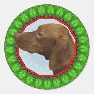 Vizsla Happy Holiday Classic Round Sticker