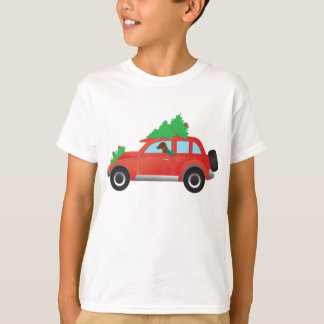 Vizsla Hunting Dog Driving a Christmas Car T-Shirt