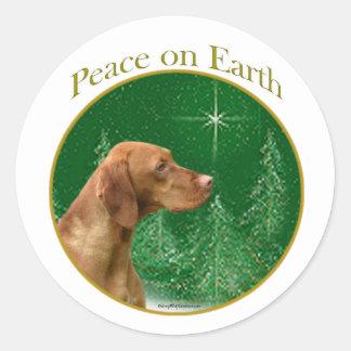 Vizsla Peace Classic Round Sticker