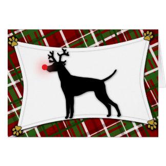 Vizsla Reindeer Christmas Card