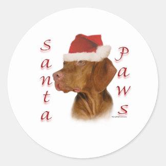 Vizsla Santa Paws Classic Round Sticker