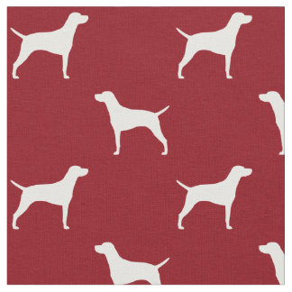Vizsla Silhouettes Pattern Red Fabric