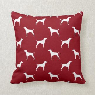Vizsla Silhouettes Pattern Red Pillow
