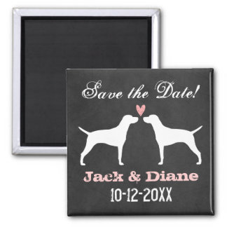Vizsla Silhouettes Wedding Save the Date 2 Inch Square Magnet