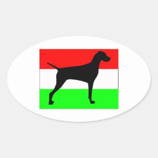 vizsla silo Hungary-Flag.jpg Oval Sticker