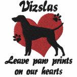 Vizslas Leave Paw Prints Embroidered Zipper Hoodie