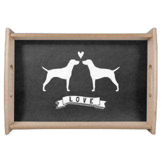 Vizslas Love - Dog Silhouettes with Heart Food Tray