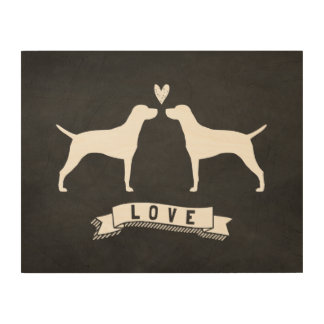 Vizslas Love - Dog Silhouettes with Heart Wood Wall Art