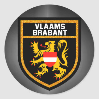 Vlaams-Brabant Flag Classic Round Sticker