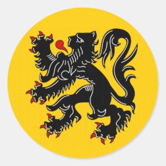 Vlaanderen (Flandes) Pegatina Redonda