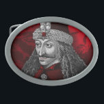 "Vlad Dracula Gothic Oval Belt Buckle<br><div class=""desc"">Gothic portrait of historical Romanian Ruler Vlad the impaler,  Order of the Dragon symbol background along with a twist of Transylvania Blood Red!</div>"