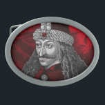 """Vlad Dracula Gothic Oval Belt Buckle<br><div class=""""desc"""">Gothic portrait of historical Romanian Ruler Vlad the impaler,  Order of the Dragon symbol background along with a twist of Transylvania Blood Red!</div>"""