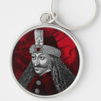 Vlad Dracula Gothic Silver-Colored Round Keychain