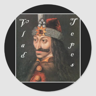 Vlad Tepes with name in Blackadder Classic Round Sticker