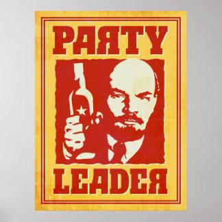 Vladimir Lenin - fiesta satírico de Bolchevique Póster