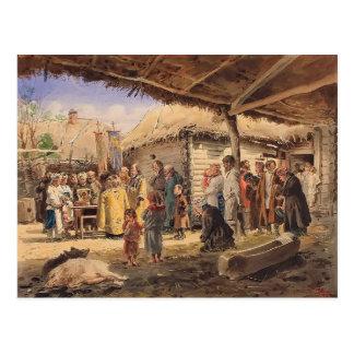 Vladimir Makovsky- Prayer service at the farm Postcard