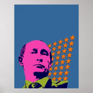 Vladimir Putin con las estrellas Póster