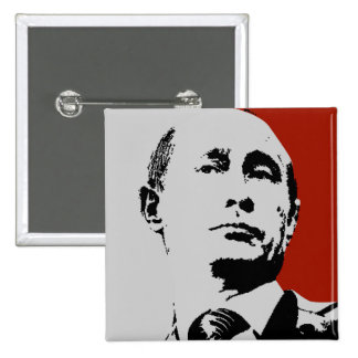 Vladimir Putin on Red 2 Inch Square Button