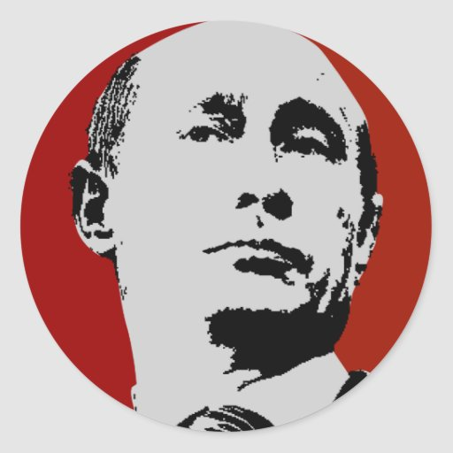 Vladimir Putin on Red Round Stickers