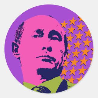 Vladimir Putin with Stars Classic Round Sticker